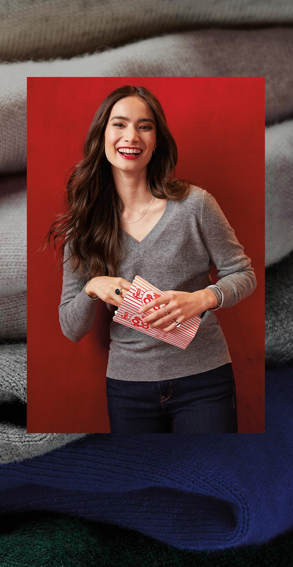 women wearing a cashmere sweater from Rw & Co
