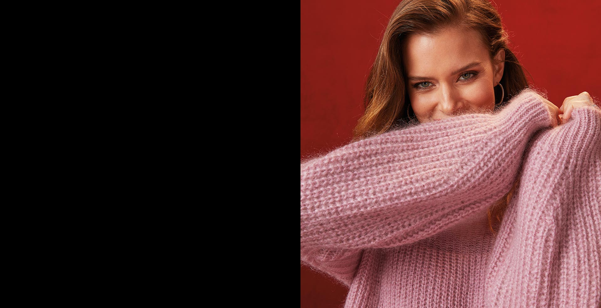 women smiling wearing a knitted sweater from RW & Co