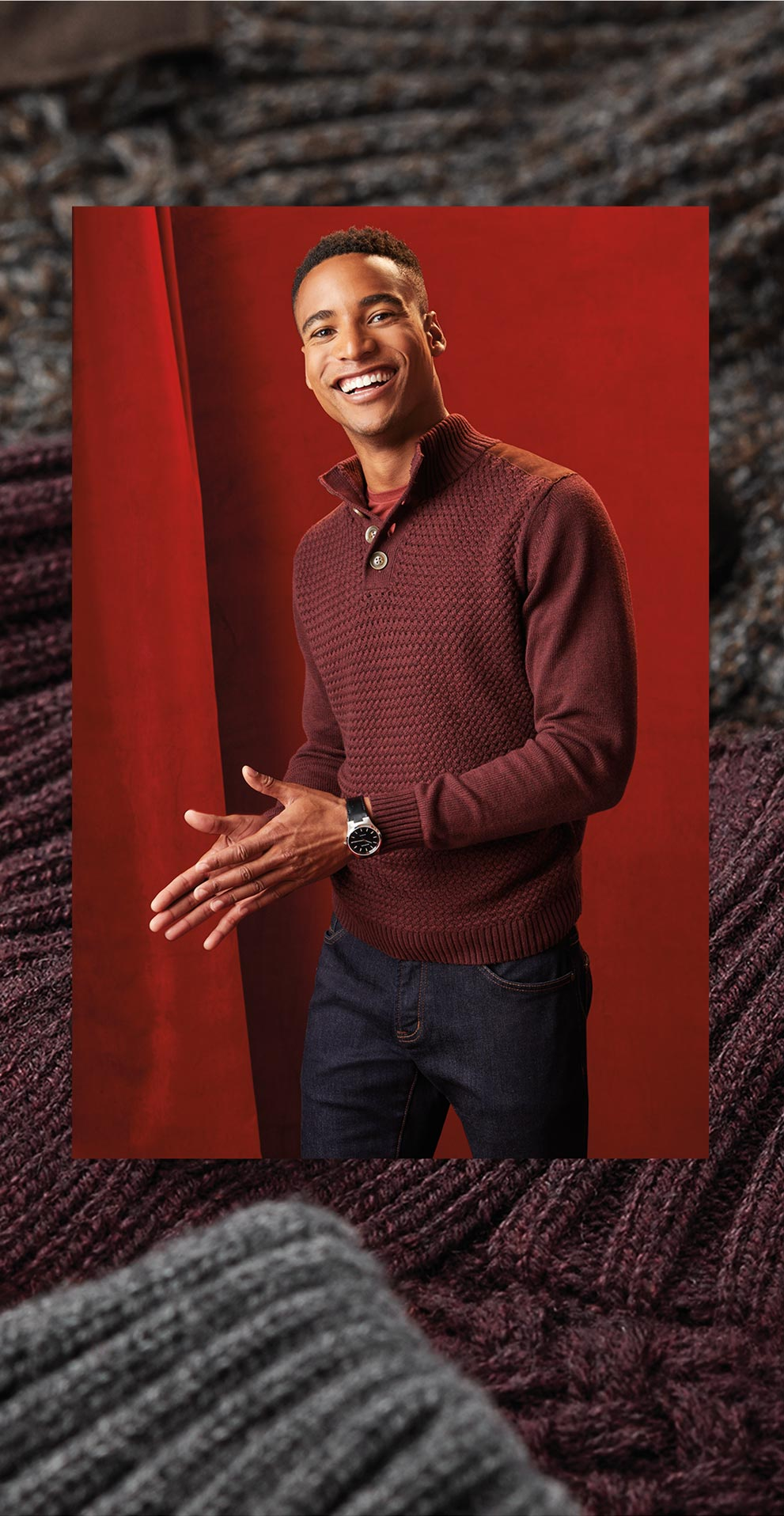Men wearing a red sweater from Rw & Co